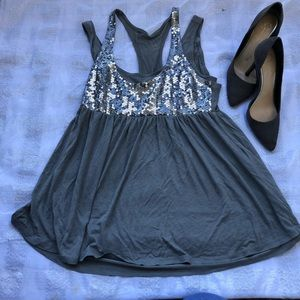 H&M Gray with Sequins Top
